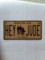 Wholesale vintage beatles poster - Hey Jude The Beatles vintage Metal Plaque Car Number Retro Licence Plate Tin Sign Bar Pub Home Cafe Wall Decor Retro Metal Art Poster