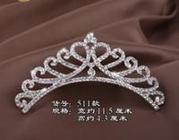 Wholesale Diamond Tiara Silver - DG Baroque children's alloy princess, birthday crown, silver diamond tiara, Bridal Bridesmaid Jewelry wholesale, free delivery