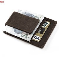 Wholesale Men Wallet Leather Money Clip - Mini Mens Leather Money Clip Wallet With Coin Pocket Card Slots Thin Purse Man Business Magnet Hasp Card Holder Money Clip Hot SV029302