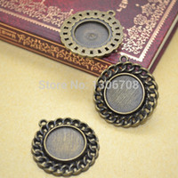 Wholesale Metal Charms Bronze Frame - 20pcs lots Antique metal bronze frame blank pendant charm tray round cabochon setting jewelry findings Z42449