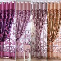 stangen endet großhandel-Einfache moderne europäische Stil High-End schiere Blumen Voile Tüll Stangentasche Vorhang feinen Fenstervorhang drapieren Volant