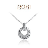 Wholesale Platinum Gold Coins - 2016 ROXI Brand Top Quality Classic Womens Necklace Retro Coin Pendant Women Necklace Rose Gold Platinum Plated Chain Necklace