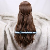 Wholesale Man Cosplay Wig Brown - Costumes Accessories Cosplay Costumes Movie Beauty and the Beast Princess Belle Brown Wig Emma Waston Wavy Wig Cosplay  Role Play Costume