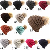 Wholesale Snow Faux Fur Wholesale - New Knit Beanies Pom Winter Warmer Hats For Womens Crochet Faux Raccoon Rabbit Fur Ball Slouchy Snow Cap
