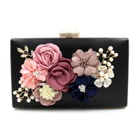Wholesale Dress Hand Bags - Women's Colorful Satin Flower Dinner Clutch Pearl Beaded PU Leather Evening Hand Bag 2017