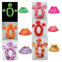 Wholesale Hula Dance - 40cm Length Woman Hawaiian Garland Wreath Leis Necklace Lei Grass Dance Beach Party Flower Hula Fancy Dress Wedding Supplies