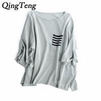 Wholesale Korean Shirt Knitting Pocket - QingTeng Korean Top Blouse Womens Loose Casual White Solid Linen Knitted Half Sleeve Women's Shirt Top Blouses With Pocket