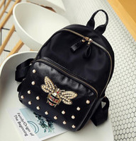 Wholesale Factory Colleges - Factory wholesale brand bag fashion cute Bee diamond women backpack nylon satchel college wind pearl fashion leisure travel backpack
