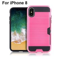 Wholesale Top Iphone Metal Cases - For iphone 8 Hybrid Armor Metal Case Dual Layer Brushed Protective Phone Cover Top Quality Mix Color