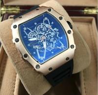 Wholesale Tonneau Skeleton Watch - 2017 Luxury brand Casual Fashion Skeleton Watches men women Luxury brand Army Skull sport quartz watch 0012