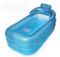 Wholesale Bathtub Inflatable Pool - Wholesale- 2 colors Bath Pool large size Adult Thickening Portable Inflatable bath tub folding wholesale family Bathtub 160x84x64CM SPA Tub