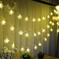 schneeflocke großhandel-Weihnachtsbaum-Schneeflocke-Birnen-Lichter 2.5M 20Led 4M 40Led feenhaftes helles Weihnachtsfest-Hochzeits-Garten-Girlande-Weihnachtsdekorationen