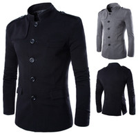 Wholesale Blazers Free Shipping - Wholesale- New Arrivals Men Casual Stand Collar Chinese Tunic Suit Blazer Jackets Single Breasted Denim Slim Jacket and Coat Free shipping