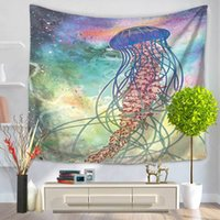 Wholesale Hang Carpet - Home Decorative Wall Hanging Carpet Tapestry 130x150cm Rectangle Bedspread Cat Mermaid Bear Wolf Jellyfish Pattern Table Cloth Yoga Mat