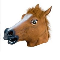 Wholesale Horse Head Mask Latex Free - Wholesale Creepy Horse Mask Head Halloween Costume Theater Prop Novelty Latex Rubber free shipping