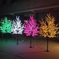arbre led artificiel jardin achat en gros de-2M 6.5ft Hauteur LED Artificielle Fleur De Cerisier Arbres De Noël Lumière 1152pcs LED Ampoules 110 / 220VAC Rainproof fairy jardin décor