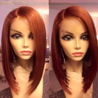 Wholesale short auburn hair color resale online - Medium Auburn Short Bob Lace Front Wigs Human Hair Virgin Malaysian Full Lace Human Hair Wig Silky Straight With Baby Hair