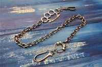 Wholesale Wholesale Wallets Parts - Metal Long Wallet Chains KeyChain With Charm Parts Punk Man's Accessories Antique Silver Keyring Key Chain Wallet Belt Ring