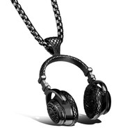 Wholesale Gold Metal Black Necklace - Heavy Metal Wireless Music Headphone Design Stainless Steel Fashion Pendant Necklace for Men Biker Jewelry, Silver Gold Black