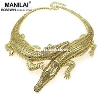 MANILAI Collier grand crocodile Baroque Inlay Full Rhinestones Femme Big Choker Statement Bijoux Collier Maxi Colliers 3983