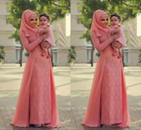 Wholesale long black chiffon skirt elegant - Watermelon Coral Lace Muslim Evening Dresses 2017 Long Sleeves Over Skirt Chiffon Elegant Formal Evening Dresses Saudi Arabic Prom Dress