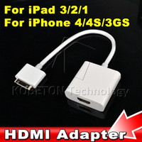Wholesale Iphone Dock Connector Hdmi - P 1080P Digital HDMI Cable High Definition 30pin Dock Connector Kitto HDMI AV HDTV Adapter for iPhone 4 4s for iPad 2 3 for iPod