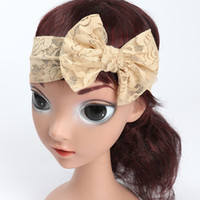 Wholesale Baby Comfort - 2017 New Baby Headbands Big Bow Lace Hairbands Kids Stretch Lace Hair Band Girls Headwrap Children Soft Comfort Hair Accessories KHA533