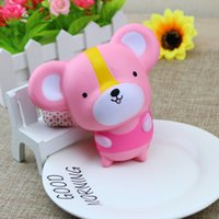 Wholesale Pink Roses For Gift - 20Pcs Lot Jumbo 12CM Squishy Kawaii Pink Mouse Slow Rising Phone Straps Sweet Scented Soft Bread Kid Cartoon Toy Gift Wholesale