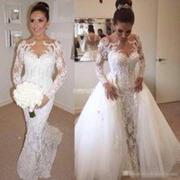 Wholesale Detachable Sleeves For Wedding - Vintage Long Sleeve Full Lace Wedding Dresses 2017 with Detachable Train Illusion Neck Beads 2017 Vintage Plus Size Bridal Gowns For Country