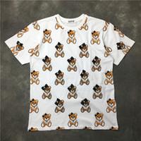 Wholesale teddy bears shirt - Newest Fashion Lovely bowknot teddy bear Printed T-Shirt Summer trendy Mens Short Sleeve Tee Tops Clothing