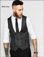 Wholesale 42 Long Suit Blue - Spring and summer 2017 British Reunion Character Pattern Of Men's Double-breasted Slim Horse Vested Suit Groom Vests V01
