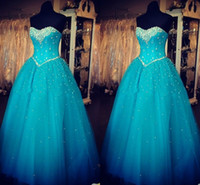 Wholesale Charming Quinceanera Dresses Ball Gown - Glamorous Tulle Strapless Ball Gown Quinceanera Dresses Sweetheart Crystal Poofy Sweet 16 Dresses Charming Prom Dresses Zipper Up