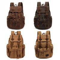 Wholesale Large Military Backpacks - Canvas Messenger Backpack Military Vintage Canvas Vintage Men Casual Canvas Leather Backpack Rucksack Satchel Bag School Bag