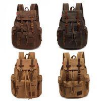 sırt çantası kanvas toptan satış-Tuval Messenger Sırt Çantası Askeri Vintage Tuval Vintage Erkekler Rahat Tuval Deri Sırt Çantası Sırt Çantası Satchel Çanta Okul Çantası