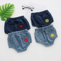 Wholesale Clothes Newborn Jeans Boy - Summer Baby Kids Heart Smile Jeans Shorts for Boys Girls Toddler Newborn Girl Romp Bread PP Denim Shorts Bloomers Infant Clothing 13133