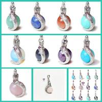 Wholesale Pink Tourmaline Stones - Natural Stone Mermaid Pendants Pendulum Jewelry Silver Plated Charms Bohemian Healing Chakra Amulet Fashion Jewelry For Women free shipping