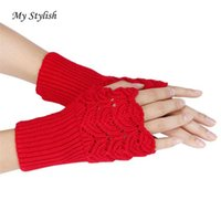 Vente en gros - My Girl Stylish Winter Winter Brewing Paragraph Knitting Half Fingerless Gloves Nov 7