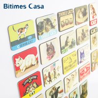 Wholesale Refrigerator Magnets Wholesale - stickers white home decoration 24 PCS cartoon cat refrigerator fridge magnets set animal cat designs magnetic stickers free shipping