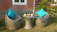 Wholesale Flat Furniture - Garden furniture flat rattan outdoor tables and chairs ensemble wicker chair rattan outdoor coffee cafe 3pcs sets