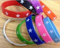 Wholesale Band Bracelet Rubber Wrist - Wholesale 100pcs lot mixed Colors Stars print Silicone Rubber Cuff Bracelet Wrist Band for Women Men Fashion Jewelry Bangles PAB65