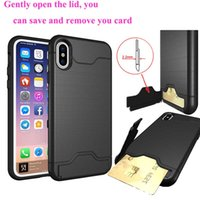 Wholesale Remove Card - for iphone x 8 8plus 7 7plus 6 and 6 plus card pocket phone cases save and remove card thicker kickstand phone shell