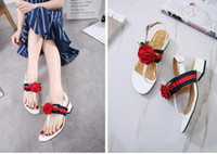 Flat Heel black women thong - HOT Europe America Fashion women sandals Party with bowknot thong ribbon flowers flat Women sandals