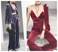 Wholesale High Waisted Wide Legs - 2017 new design fashion women's velvet bustier spaghetti strap vest and blazer coat and wide leg pants and belt 4 pieces suit S M