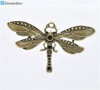 Wholesale Dragonfly Bronze Charm - Wholesale- Doreen Box Lovely 5 Bronze Tone Dragonfly Charm Pendants 73x42mm (B13109)
