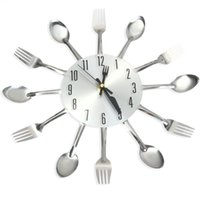 Wholesale Clock Fork - Wholesale- Fashion Sliver Cutlery Wall Clock Kitchen Fork Spoon Creative Mirror Wall Stickers Mechanism New Novelty Wall Clocks Home Decor