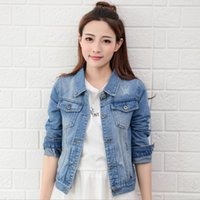 Wholesale Jeans Lady Shorts - Wholesale New Fashion Spring Autumn Vintage Denim Jackets Women's Jeans Coat Ladies Jean Tops For Girls Outwear