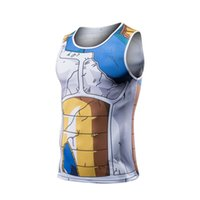 Wholesale Armor Vests - Men Dragon Ball Z Goku Vegeta Armor Tank Tops Bodybuilding Vest Fitness Tank Top Hipster 3D Anime t shirts Tanks DBZ t shirt tee