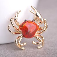 Wholesale Crab Brooches - Wholesale- Hot Enamel Animal Brooch Crab Cute Creature Esmalte Gold Plated Brand New Ouro Anime Icon Bag Pendant Sweater Bijoux Jewelry