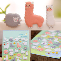 Wholesale Cartoon Notebook Paper - Wholesale- 1 Sheet Sheet Korea Styling Kawaii 3D Cartoon Sheep Alpaca DIY Diary Bubble Stickers Decorative For Notebook albums Card Paper