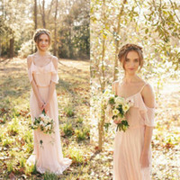 Wholesale Long Blush Chiffon Gowns - Country Style Bridesmaid Dresses Blush Pink Chiffon Long Bohemian Wedding Party Maid of Honor Gowns Spaghetti Straps Off Shoulder Beach Wear